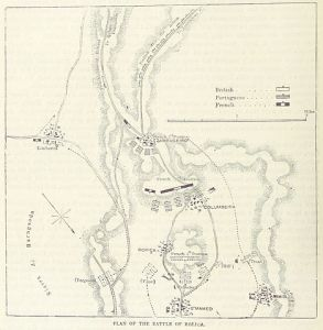 A map of the battle From p. 386 of the 1873 book British Battles on Land and Sea, volume 2.